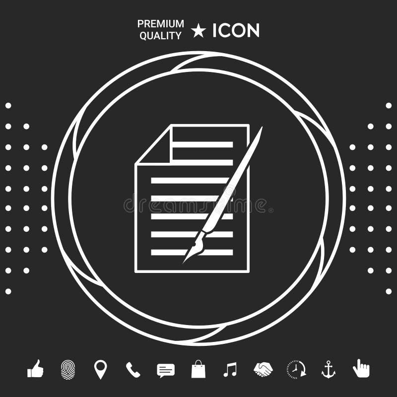 Prześcieradło papieru i pióra ikona Graficzni elementy dla twój designt ilustracji