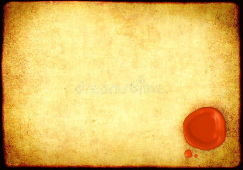 Prześcieradło pergamin z pieczęciowym wosku morzem royalty ilustracja
