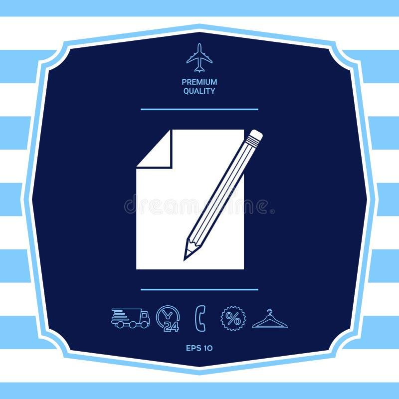 Prze?cierad?o papieru i o??wka symbolu ikona Graficzni elementy dla tw?j projekta ilustracji