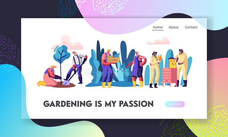 Przechodzić na emeryturę ludzie Uprawia ogródek i Beekeeping hobby Starszy charaktery Zasadza drzewa, Zbierający, Dbać pszczoły a royalty ilustracja