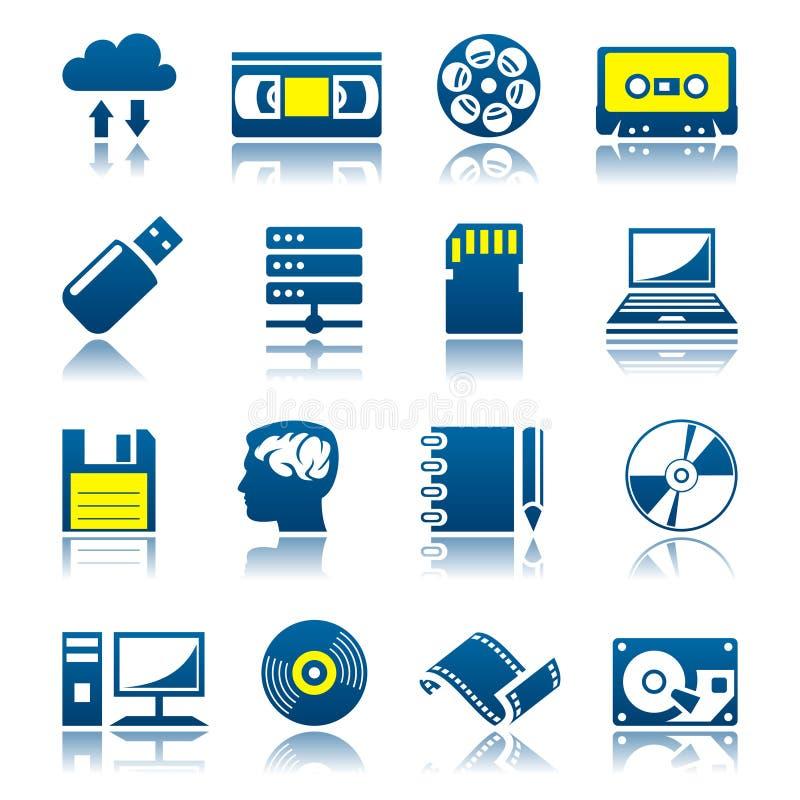 Przechowywanie danych ikony set royalty ilustracja