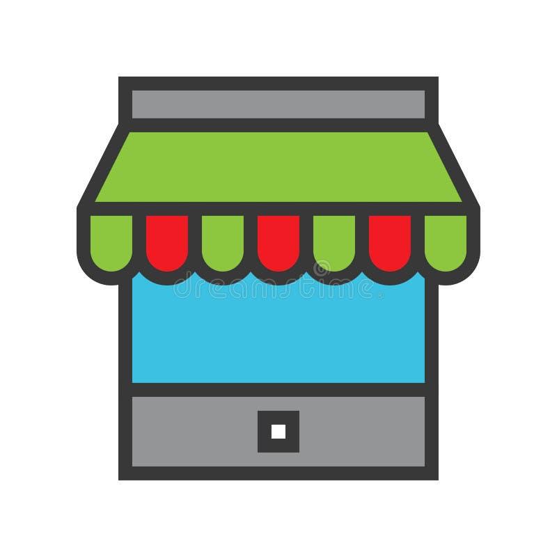 Przechuje wektor, Online zakupy wypełniający stylowej ikony editable kontur royalty ilustracja
