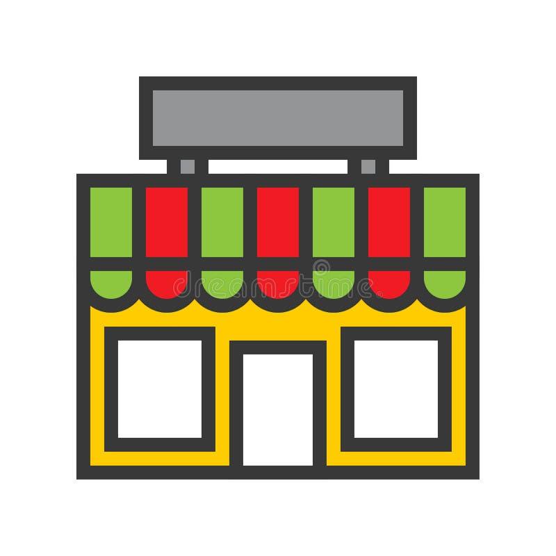 Przechuje wektor, Online zakupy wypełniający stylowej ikony editable kontur ilustracja wektor
