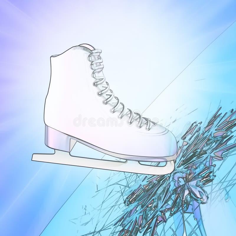 Przechylająca błękitna wersja, lodowe łyżwy z odbiciem ilustracja wektor