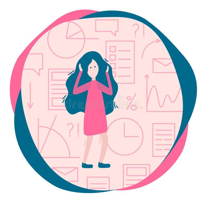 Przeciążenie informacji pojęcie Kobieta i mnóstwo informacja, gr ilustracji