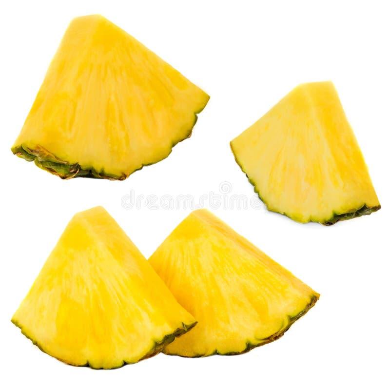 przecięcie ananasy Ananas owoc odizolowywająca na białym tle Fr fotografia stock