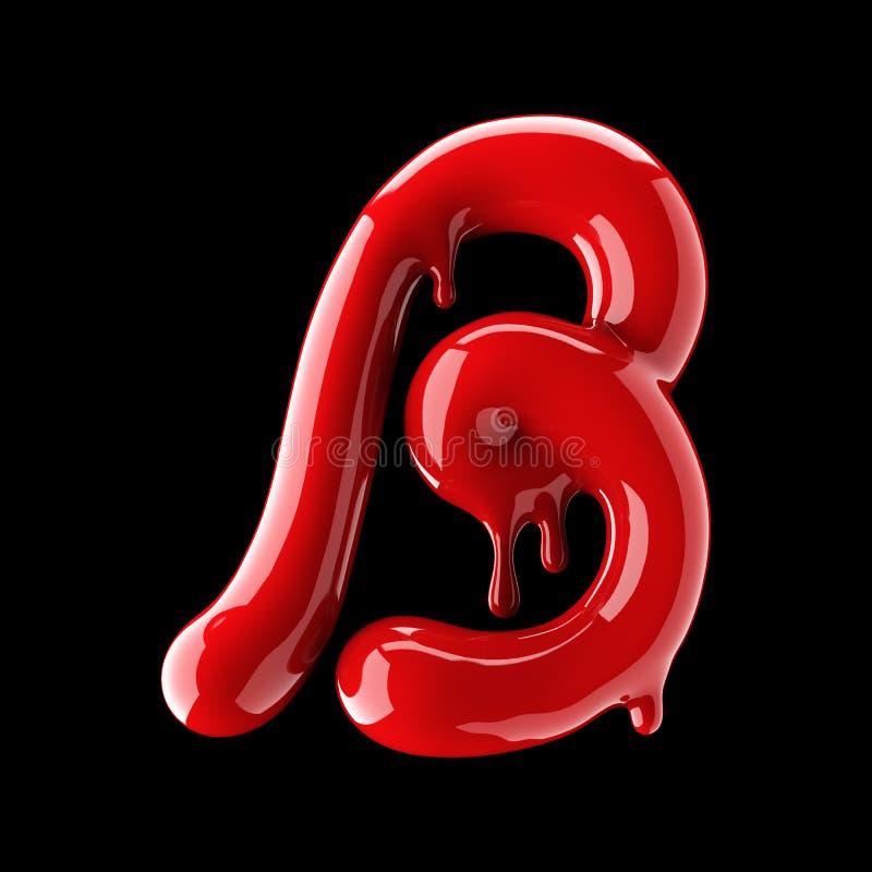 Przeciekający czerwony abecadło na czarnym tle Ręcznie pisany kursywnego listu b ilustracja wektor