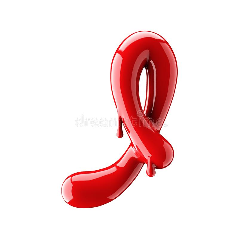 Przeciekający czerwony abecadło odizolowywający na białym tle Ręcznie pisany kursywny list Ja ilustracja wektor