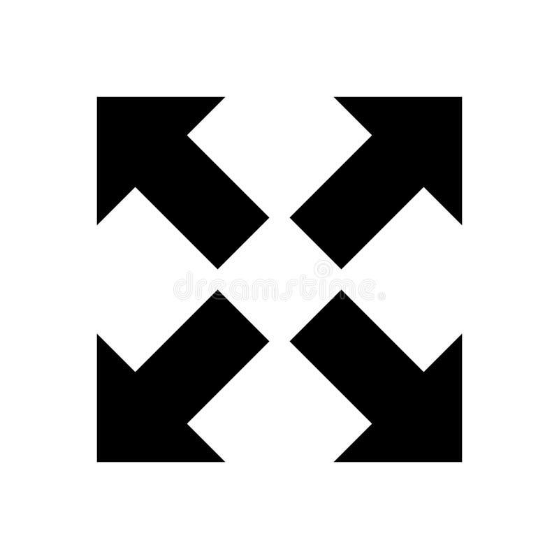 Przecinająca strzałkowata ikona, wektor resize ikonę, odizolowywającą przedłużyć znaka royalty ilustracja