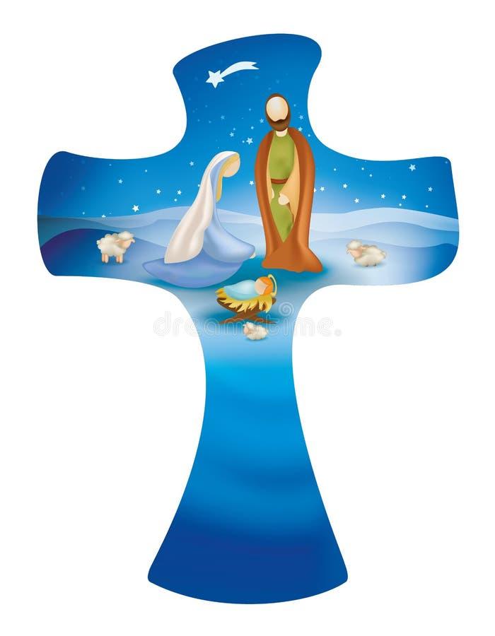 Przecinająca whit narodzenia jezusa scena na błękitnym tle jesus Joseph Mary ilustracji