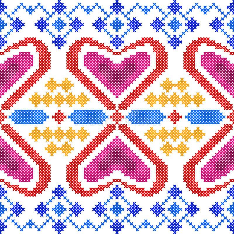 Przecinającego ściegu Hafciarski Geometrical projekt dla bezszwowej deseniowej tekstury royalty ilustracja