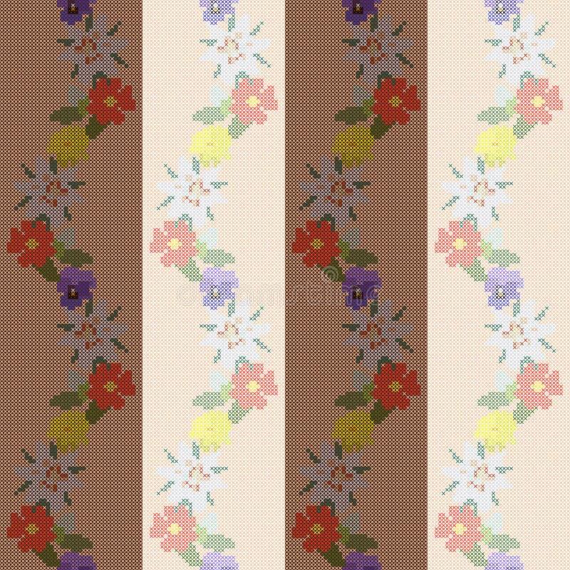 Przecinającego ściegu kwieciste granicy piękny colibri kwiatów wzór bezszwowy royalty ilustracja