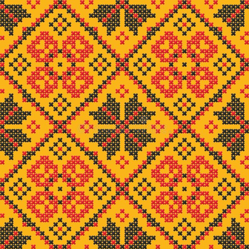 przecinającego ornamentu bezszwowy ściegu tekstury ukrainian royalty ilustracja