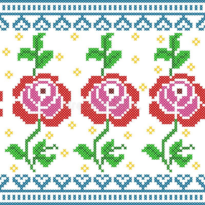 Przecinającej ścieg broderii róży Kwiecisty projekt dla bezszwowej deseniowej tekstury royalty ilustracja