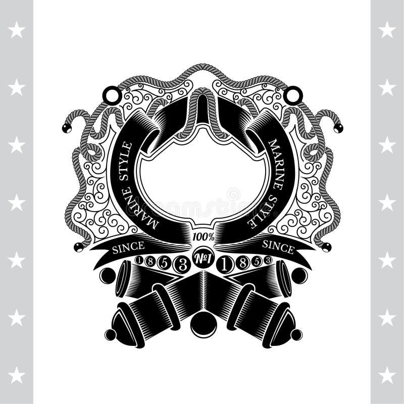 Przecinający działa z cannonballs i ramą od faborku w centrum linia wzór Heraldyczna rocznik etykietka royalty ilustracja