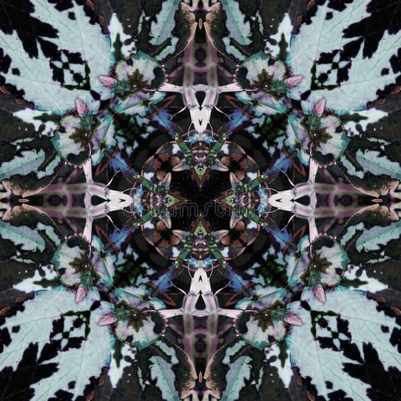 PRZECINAJĄCY jesieni mandala, PROSTY CZARNY tło, PASTELOWYCH kolorów barłóg ilustracji