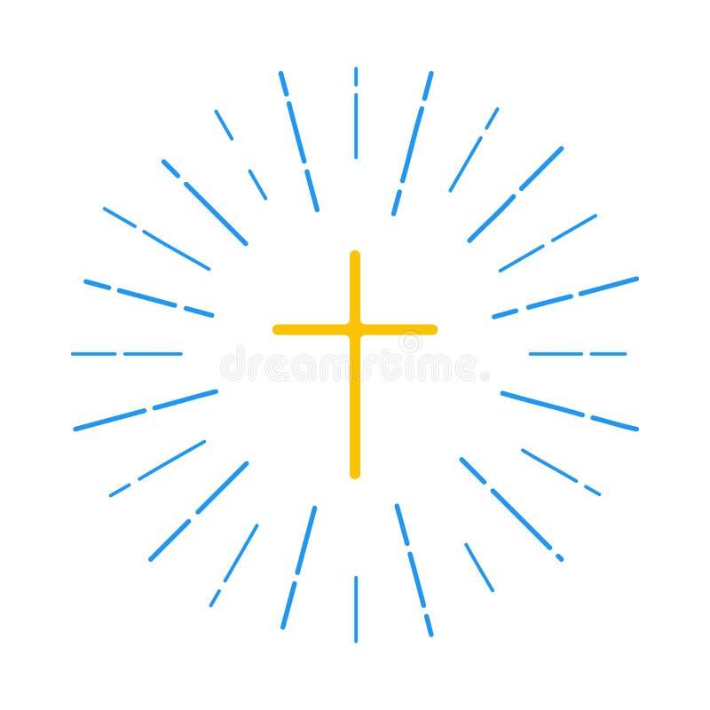 Przecinający logo z promieniami światło ilustracji