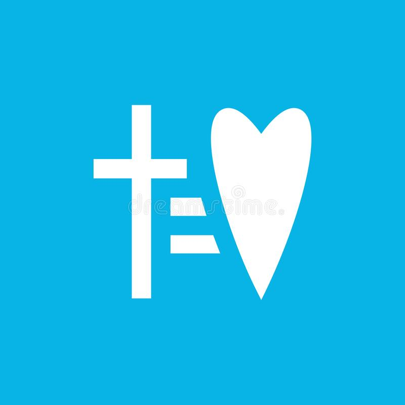 Przecinający równy kierowa wektorowa ikona Lakoniczny religijny symbolu loga szablon Wiary i miłości logotyp Liniowy stylu znak royalty ilustracja