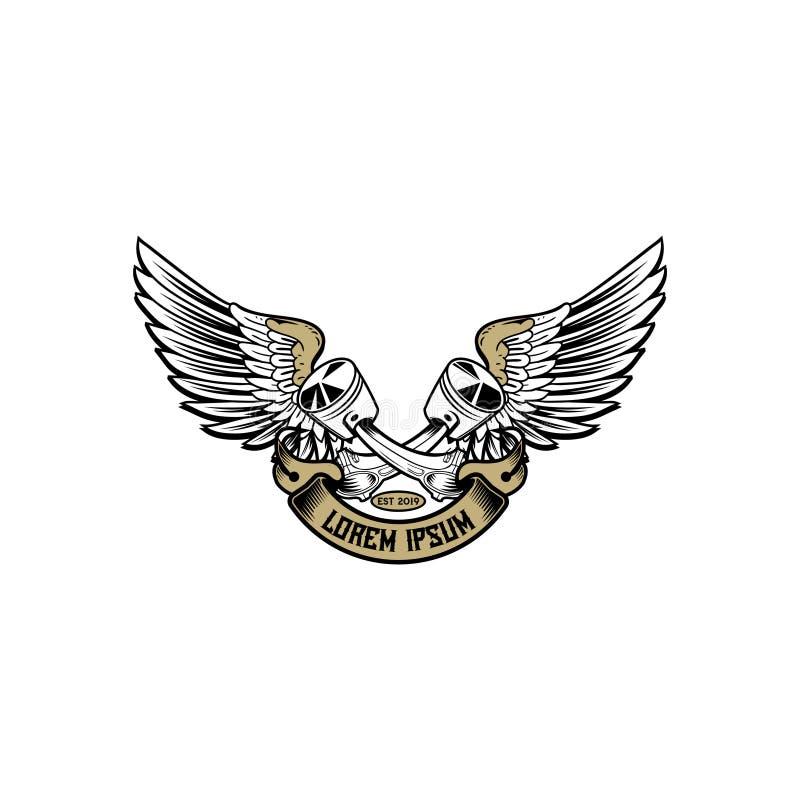 Przecinający tłok z skrzydłem i faborek dla automobilowego logo odznaki szablonu ilustracji