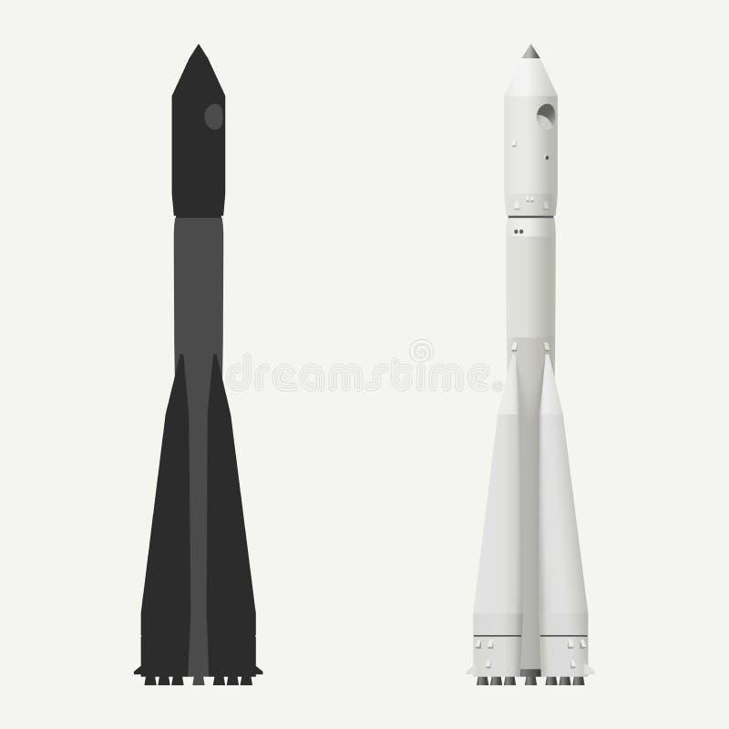 przeciw błękit dna zakończenia cztery nozzle rakietowej nieba przestrzeni ilustracja wektor