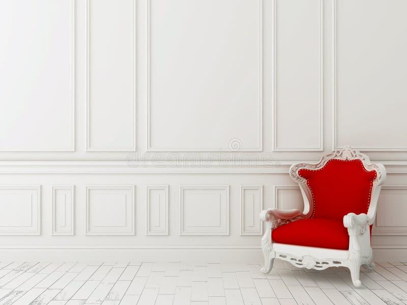 Przeciw biały ścianie czerwony krzesło zdjęcie royalty free