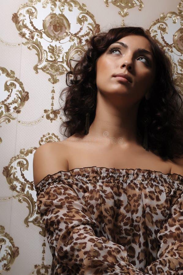 przeciw brunetka wiktoriański zdjęcie stock