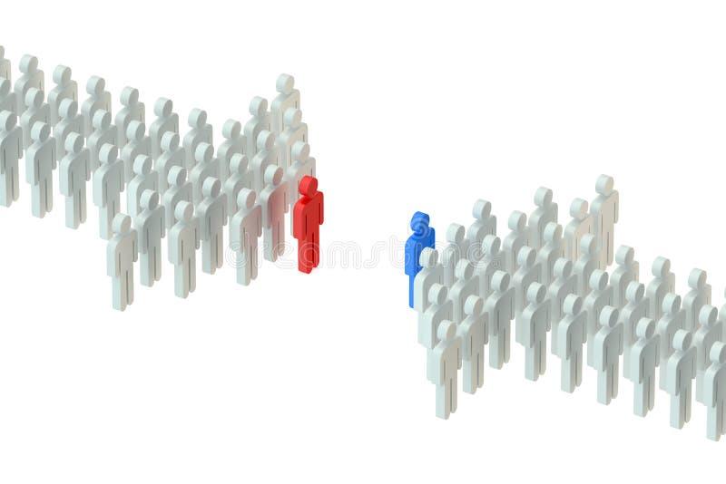 przeciw czarny bierek pojęcia jeden opozyci zastawniczemu rzędu biel royalty ilustracja