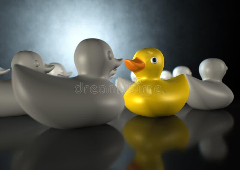 przeciw kaczki przepływu gumie fotografia royalty free