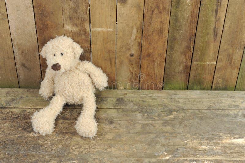 przeciw niedźwiedziowi drewniana miś pluszowy sadzająca ściana zdjęcie stock