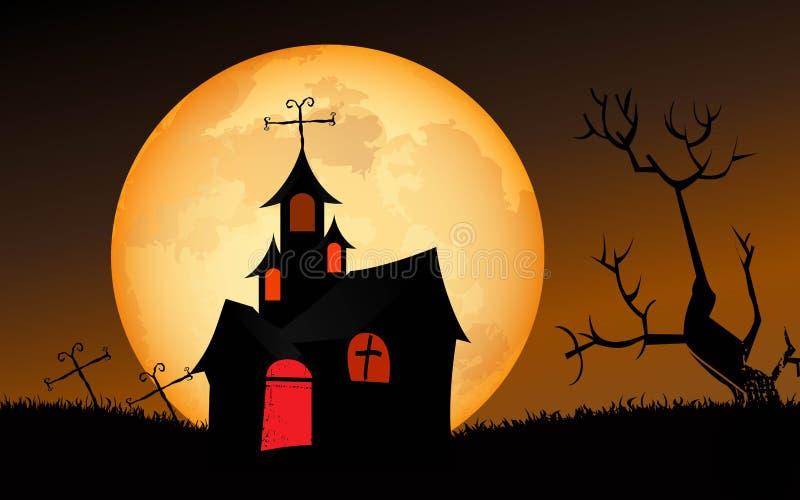 przeciw nietoperzom folującym Halloween nawiedzająca domowa księżyc bani scena ilustracja wektor