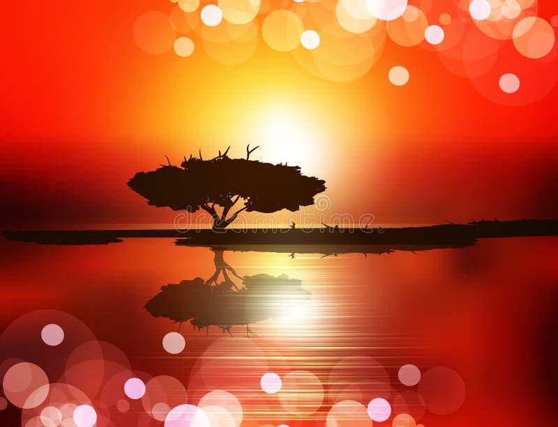 przeciw położenia słońca zmierzchu drzewa wodzie ilustracja wektor