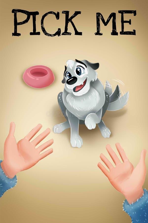 przeciw t?a rozochoconemu ciemnemu haerts sercu ja wyboru czerwieni valentine Śliczny pies dla adopcji Plakat dla zwierz?t domowy royalty ilustracja