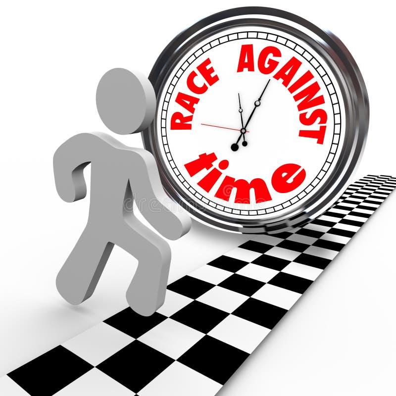 przeciw zegarowej mecie biegowego biegacza czas vs royalty ilustracja
