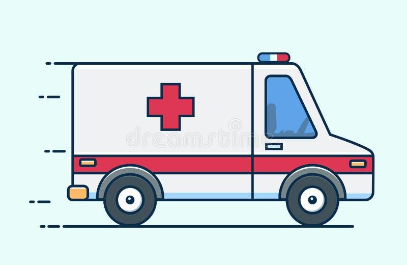 Przeciwawaryjna ambulansowa wektorowa ilustracja Medyczny pojazd Ambulansowy samochód w mieszkanie stylu ilustracji