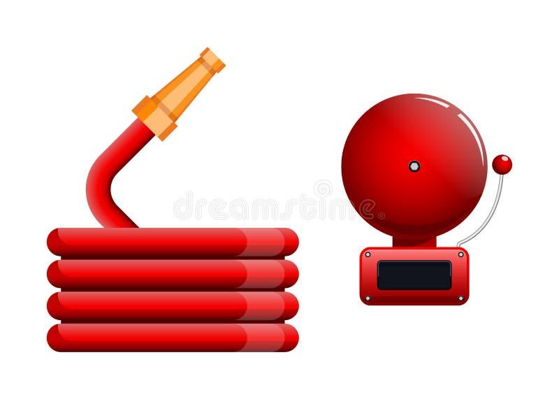 Przeciwawaryjna ikona, czerwonego ogienia alarmowy system i pożarniczy wąż elastyczny, ilustracji