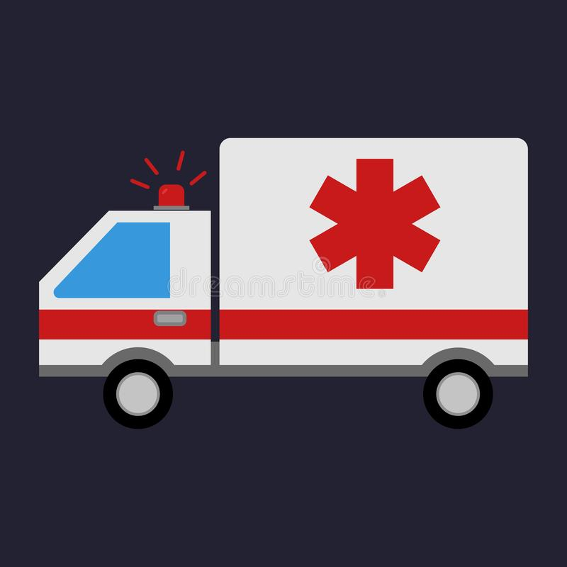 Przeciwawaryjna karetka Medyczny pojazd Ambulansowy samochód w mieszkanie stylu również zwrócić corel ilustracji wektora ilustracji