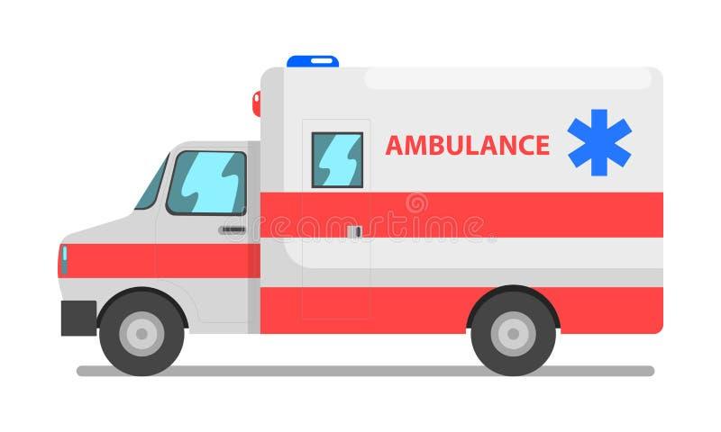 Przeciwawaryjna samochodu, czerwieni i bielu usługa zdrowotnej ambulansowego pojazdu wektorowa ilustracja na białym tle, ilustracja wektor