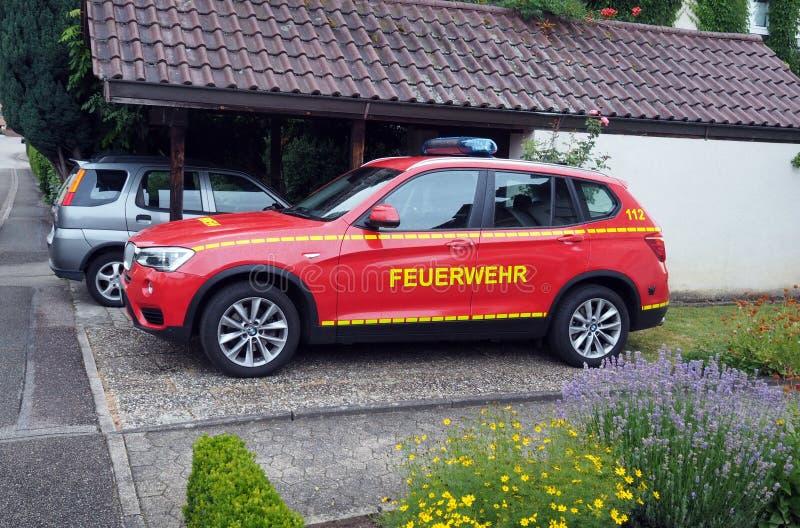 Przeciwawaryjny pojazd pożarnicza usługa Offenburg, Niemcy obrazy royalty free