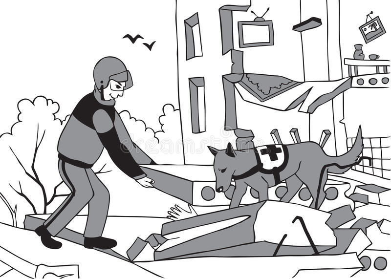 Przeciwawaryjny ratownik i pies ilustracja wektor