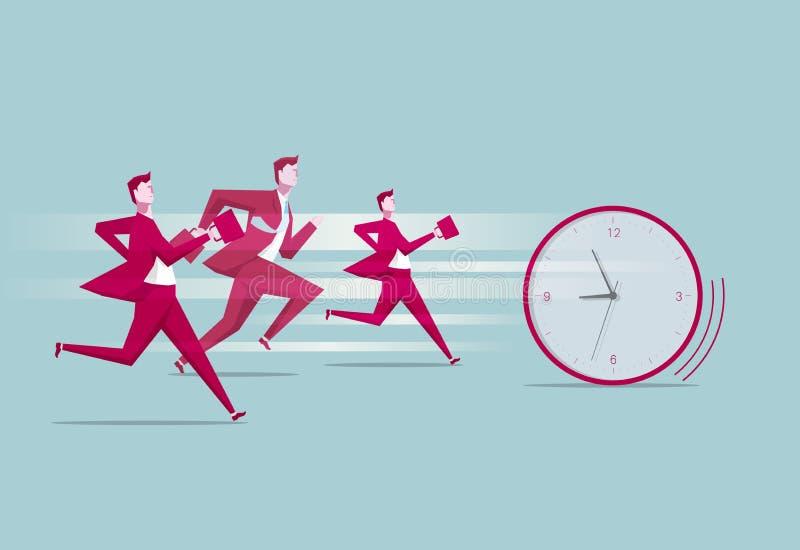 przeciwko biegowemu czasu Grupa ludzi gonił zegar ilustracji
