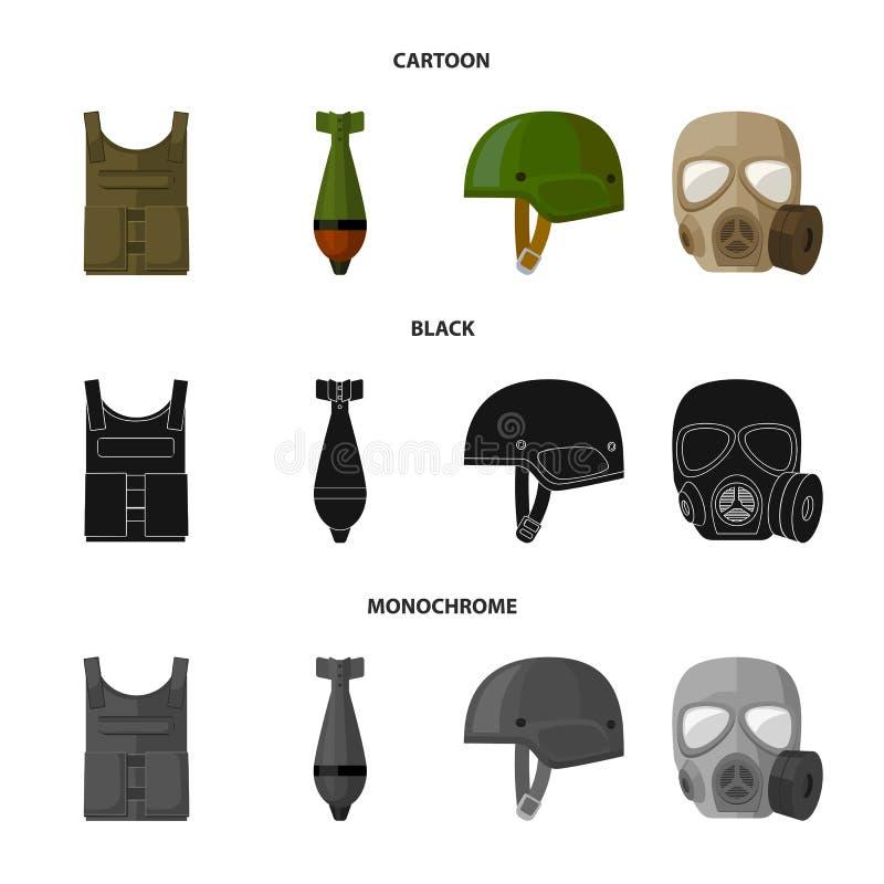 Przeciwkulowa kamizelka, kopalnia, hełm, maska gazowa Wojskowego i wojska ustalone inkasowe ikony w kreskówce, czerń, monochromu  royalty ilustracja