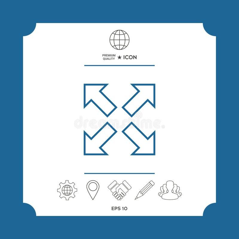 Przedłużyć, resize, kreskową ikonę royalty ilustracja