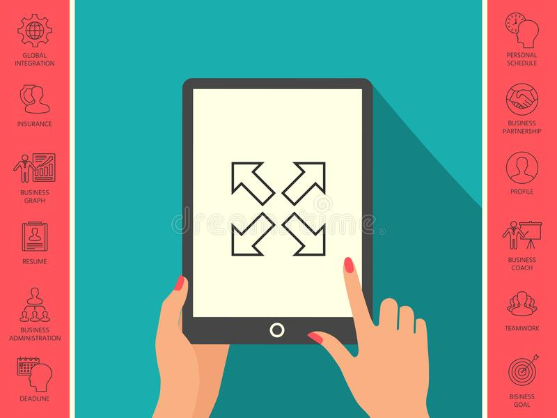 Przedłużyć, resize, kreskową ikonę ilustracja wektor
