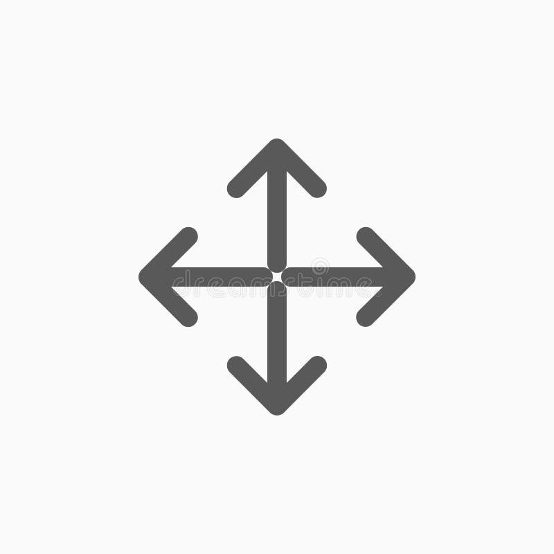Przedłużyć, resize, powiększa ikonę, rozszerza, strzała, royalty ilustracja
