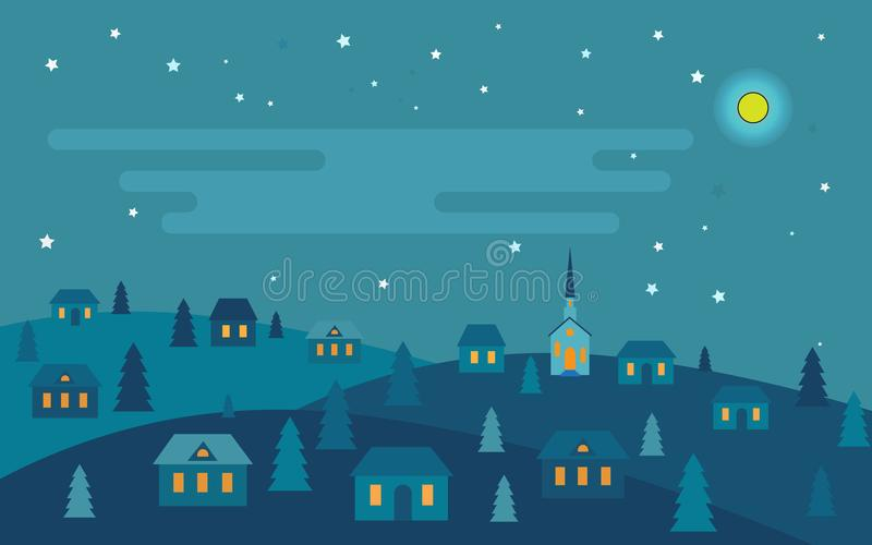 Przed Bożymi Narodzeniami Noc ilustracja wektor