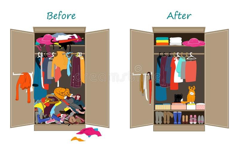 Przed garderobą, po Upaćkani ubrania rzucający na półce i miło układający odziewają w stosach i pudełkach ilustracja wektor