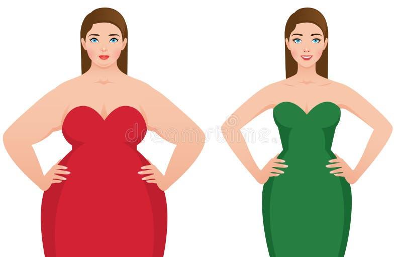 Przed i po ciężar straty sadłem i schudnięcie kobietą na białym backg ilustracji