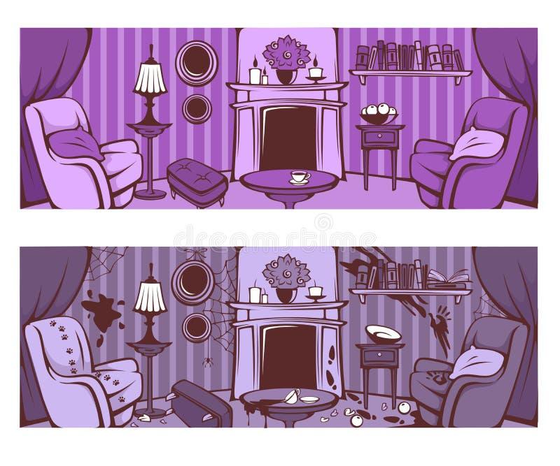 Przed i po cleaning, kreskówka opuszcza pokój w wiktoriański sty ilustracji