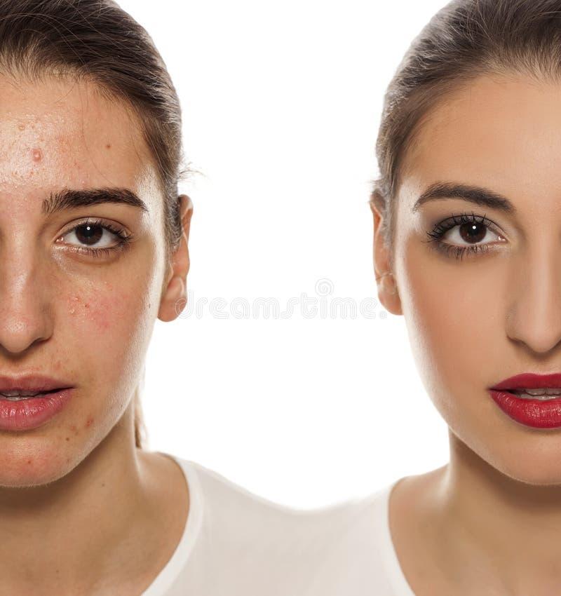 Przed i po makeup fotografia royalty free