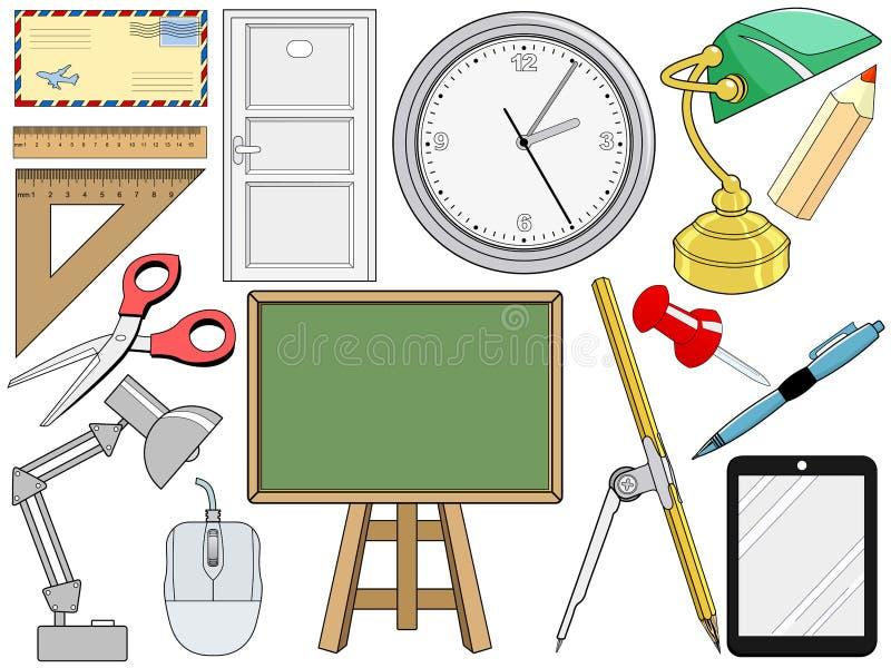 Przedmiot odnosić sie z biurem i edukacją ilustracja wektor